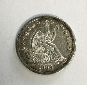 1839 Seated Liberty Half Dime  About Uncirculated -