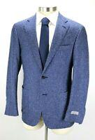 $1595 Canali Kei Jacket Blue White Fleck Stretch Cotton Wool Coat 42 R (52 EU)