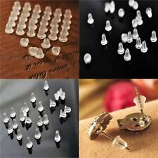 100 pcs Clear Rubber Soft Safety Earring Back Pad Plugs Ear Post Nuts Stopper