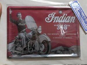 Motorrad Indian 348 - Motorcycle - Blechkarte/ Blechpostkarte - Lagerware Neu