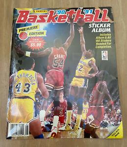 PANINI 1990-1991 NBA BASKETBALL ALBUM PREMIER EDITION W/180 STICKERS COMPLETE