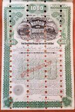 1896 Norfolk & Western Railway Company Bond Stock Certificate Railroad