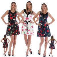 Ladies Floral Pint Belt Peplum Dress Aline Top Summer Casual Midi Size 8 10 12
