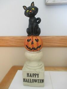 "NEW 14"" Black Cat & Jack O' Lantern on Pedestal, Decoration, Stacked Halloween!"