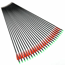 "24PCS 30"" Replaceable Compound Bow Arrow 7.8mm Plastics Fletching Carbon Arrows"
