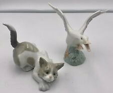Lot of 2 Lladro Figurines Goose and Crouching Kitty