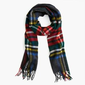 ABRAHAM MOON FOR J.CREW Wool Scarf E3870 Made in the UK *tartan plaid charcoal