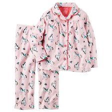 NWT Carter's Girls Winter Pajamas Size 5 Pink Horse Fleece Sleep Pants Pjs NEW