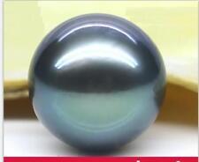 Huge 14mm genuine Tahitian round black blueish loose pearl half drilled