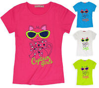 Girls Short Sleeve Cat Top New Kids Stretch Summer T-Shirt Tee Age 3 - 12 Years