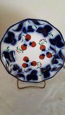 Flow Blue Brushstroke Gaudy Plate-STRAWBERRY FAIR Pattern-Striking Colors