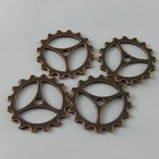 30 pcs Antiqued Copper Red Wheel Gear Pendants Charms 23mm DIY Crafts 37628