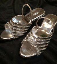 Size 3 Girls Kids Indian Bollywood Fancy  Shoes Heels Slip On Sandals Silver