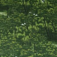 Naturescape, Trees, Forest, Green & Metallic Gold, Cotton by Hoffman BTHY or BTY