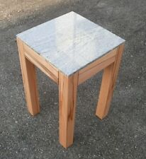 Beistelltisch, Blumenhocker Kernbuche massiv + Granit .30 x 30 x 50 cm hoch.
