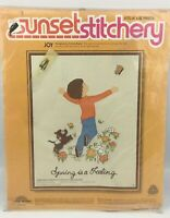 Sunset Stitchery 2702 Joy Crewel Embroidery Kit 14x18 Connie Blyler 1976 New