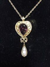 Gold tone Heart Faux Amethyst Faux Teardrop Pearl Pendant Necklace 24 Inch