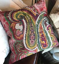 "Pottery Barn Sullivan Pillow Cover Red 24"" Ikat Floral Paisley New"