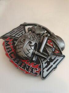 Buckle Club Skull Big Red Machine Biker  Pewter Finish Alloy Belt Buckle New