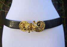 Vtg Mimi Di N Gold Tone Double Leopard Buckle w/Black faux Leather Belt