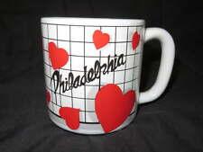 NEW Ceramic PHILADELPHIA Coffee MUG  Cocoa Drink Vintage Cup Hearts Love Philly