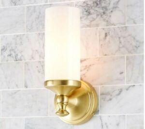 Pottery Barn Mercer Single Tube Bathroom Sconces~SET OF 2~Brass~New In Box