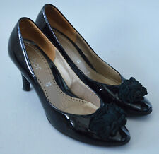 Ladies Gabor Black Patent Leather Court Shoes Size UK 4.5