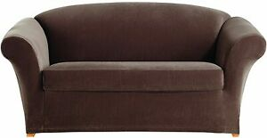 Sure Fit Stretch Corduroy 2-Piece - Loveseat Slipcover - Oar Brown (New, Sealed)