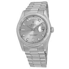 ROLEX Platinum 36mm Day Date President Factory Diamonds 118206 Box Warranty