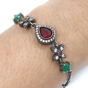 Deco 4.65ct Ruby, Emerald & Diamond Cut Sapphire 14K Yellow Gold Silver Bracelet