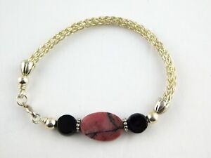 Rhodonite and Black Onyx Silvertone Metal Bracelet Woven Chain Lobster Clasp