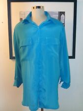 VTG SUE BRETT Turquoise B4 Long Tunic Shirt