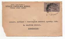 1928 INDIA KGV Cover Front BOMBAY GPO to MANCHESTER GB Commercial Gogate PAIR