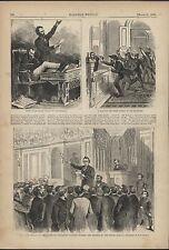 Impeachment Andrew Johnson Closing Debate 1868 antique wood engraved print