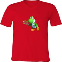 Nintendo Mario Yoshi Tennis Unisex Men Women V-Neck Fun Sport Video Game T-Shirt