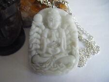 Spiritual Inspirational Necklace Kuan Yin Goddess Hand Carved Jade Pendant WOW