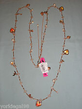 Betsey Johnson Rosetone Think of Me Long Strand Charm Necklace New With Tag