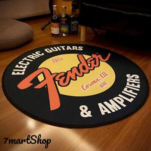 Printed Fender Guitar Round Flannel Carpet Floor Mats Area Rug Sound Insulation