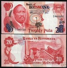 BOTSWANA 20 PULA P5 B 1976 BIRD UNC SOLID LOW # 000022 RARE MONEY BILL BANK NOTE