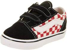 Vans Boy's Old Skool V Checkerboard Hook and Loop Toddler Shoes Black Red