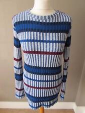 ZARA Ladies Blue White Burgundy Striped Ribbed Jumper Sweater Top Size M VGC