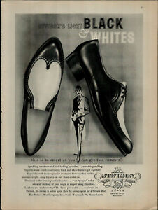 1961 Stetson Light Black and White Shoes for Men Vintage Print Ad 1990