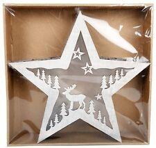 Illuminato in legno Natale Light Up Star box Alpine WINTERLAND Decorazione