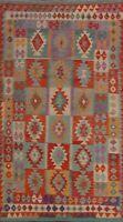 Geometric Reversible Kilim Southwestern Oriental Area Rug Hand-woven Wool 7'x10'