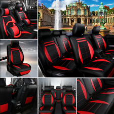 11x Universal 5-Seat PU Leather Car Cover Cushion Headrest+Steering Wheel Cover