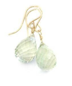 Prasiolite Green Amethyst Earrings Briolette Teardrops 14k Solid Gold Sterling