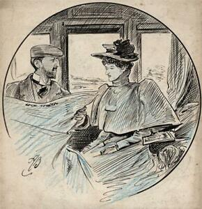 ALFRED BRYAN (1852-1899) Small Pen & Ink Drawing FEMALE WITH GENTLEMAN STUDY