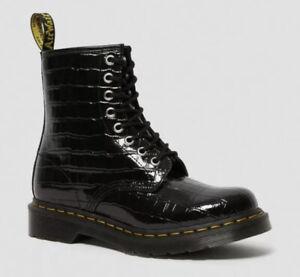 Dr Martens 1460 Faux-Croc Black Embossed Leather Boots Women's US 9 Black $150