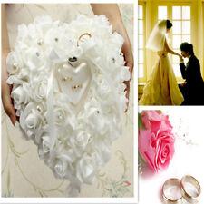 Wedding Rose HeartShaped Ring Box Bearer Holder Cushion Pillow Gift
