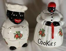 Set of 2 Cookie Jars - Signed McCoy - White w/ Apples